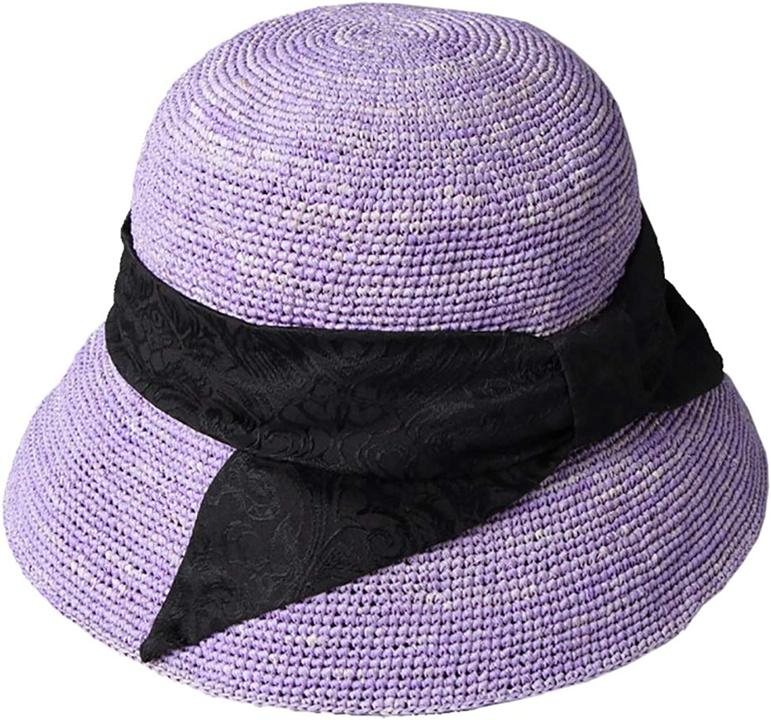 Purple Straw Hat Foldable, Female Travel, Seaside Beach, Leisure Vacation (color   Purple)