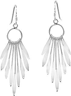 Shimmering Fan of .925 Sterling Silver Dangle Earrings