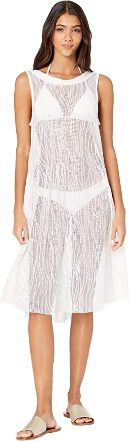 Monaco Tides High Neck Mesh Cover-Up Dress w/ All Over Sequins