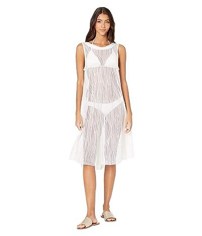 Carmen Marc Valvo Monaco Tides High Neck Mesh Cover-Up Dress w/ All Over Sequins (White) Women