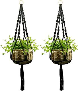 Ropesart 2 Pcs Macrame Plant Hanger Black Knotted Hand-Woven Black Morden Style Hemp Black Plant Hanger with Key Ring