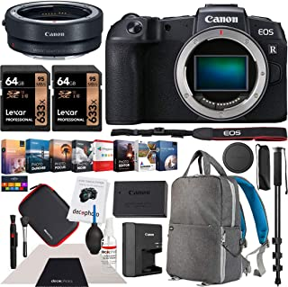 Canon EOS RP Full-Frame Mirrorless Digital Camera Body Only with EF-EOS R Lens Adapter & Deco Gear Photography Backpack Essential Accessories Kit Monopod 2X 64GB Memory Cards & Software Bundle