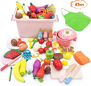 RUI YUE 42点おままごと、人気おもちゃ 100%天然木製 おままごとセット 磁石のおもちゃ 男の子と女の子 誕生日のプレゼント 祝日の贈り物 親子ゲーム こどものおもちゃ 野菜と果物の魚 (1)