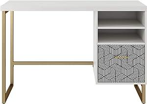 CosmoLiving by Cosmopolitan Scarlett Single Pedestal Desk, White