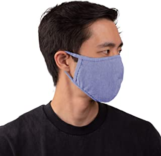 Aulin� Collection Made in USA Cotton Fabric Washable Reusable Fashion Face Mask, Denim 1 PK