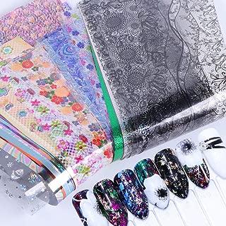 50 roll Spring Pink Lace Marble Series Nail Foil Flower Dream Catcher Transfer Sticker Nail Art(Random)