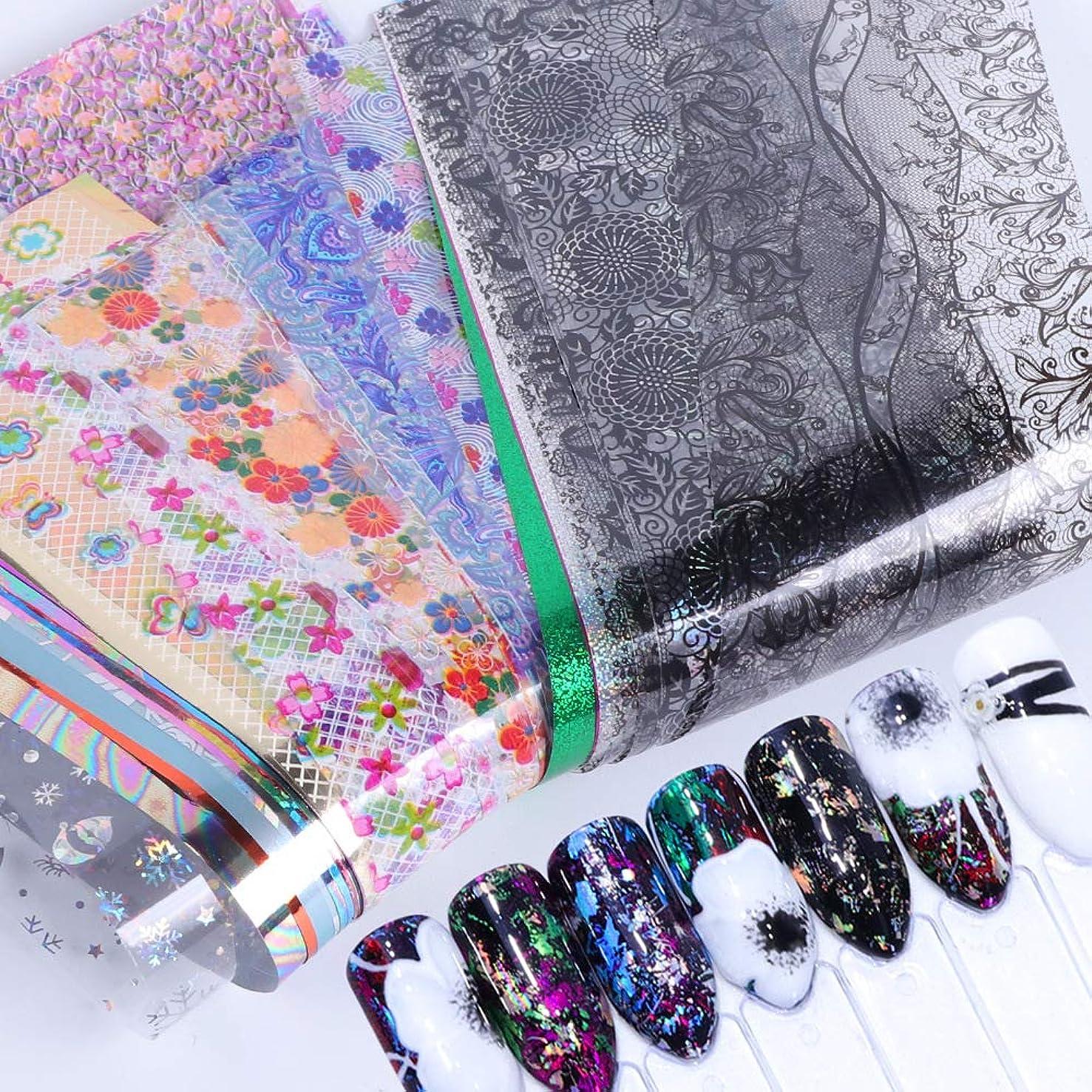 スチュワーデスピッチ老朽化した50個星空スカイスターズネイルアートステッカーのヒントラップ箔転写接着剤グリッターアクリルDIYの装飾(ランダムカラーパターン)