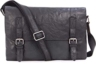 Ashwood Vintage Leather Messenger Shoulder Bag - F85 - Office College University - Laptop Friendly - Black