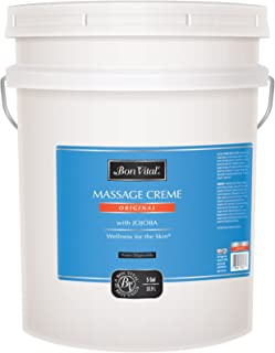 Bon Vital' Original Massage Crème for a Versatile Massage Foundation to Relax Sore Muscles & Repair Dry Skin, Revitalize Skin and Lock in Moisture, Allows for Muscle Manipulation, 5 Gallon Pail