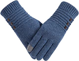 Best Winter Wool Warm Gloves For Women, Anti-Slip Knit Touchscreen Thermal Cuff Snow Driving Gloves With Thick Thinsulate Lining Review