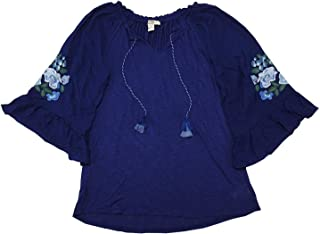Vintage America Blues Womens Embroidered Floral Bell Sleeve Valerie Blouse Medium Medieval Blue