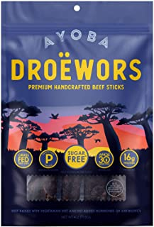 Ayoba Droewors Beef Sticks - Grass Fed, Keto and Paleo Certified Air-Dried Sausages - Whole 30 Approved, No Sugar, Gluten Free, No Nitrates - Healthy and Natural Snacks (4 Ounce)