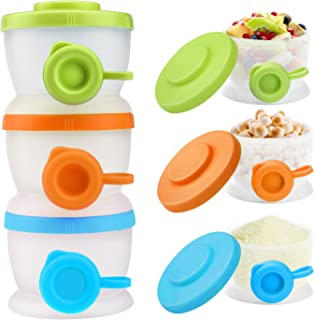 Zooawa Baby Formula Dispenser, Non-Spill Stackable Milk Powder Formula Container and Snack Storage for Travel, BPA Free, 3 Compartment, Medium Color