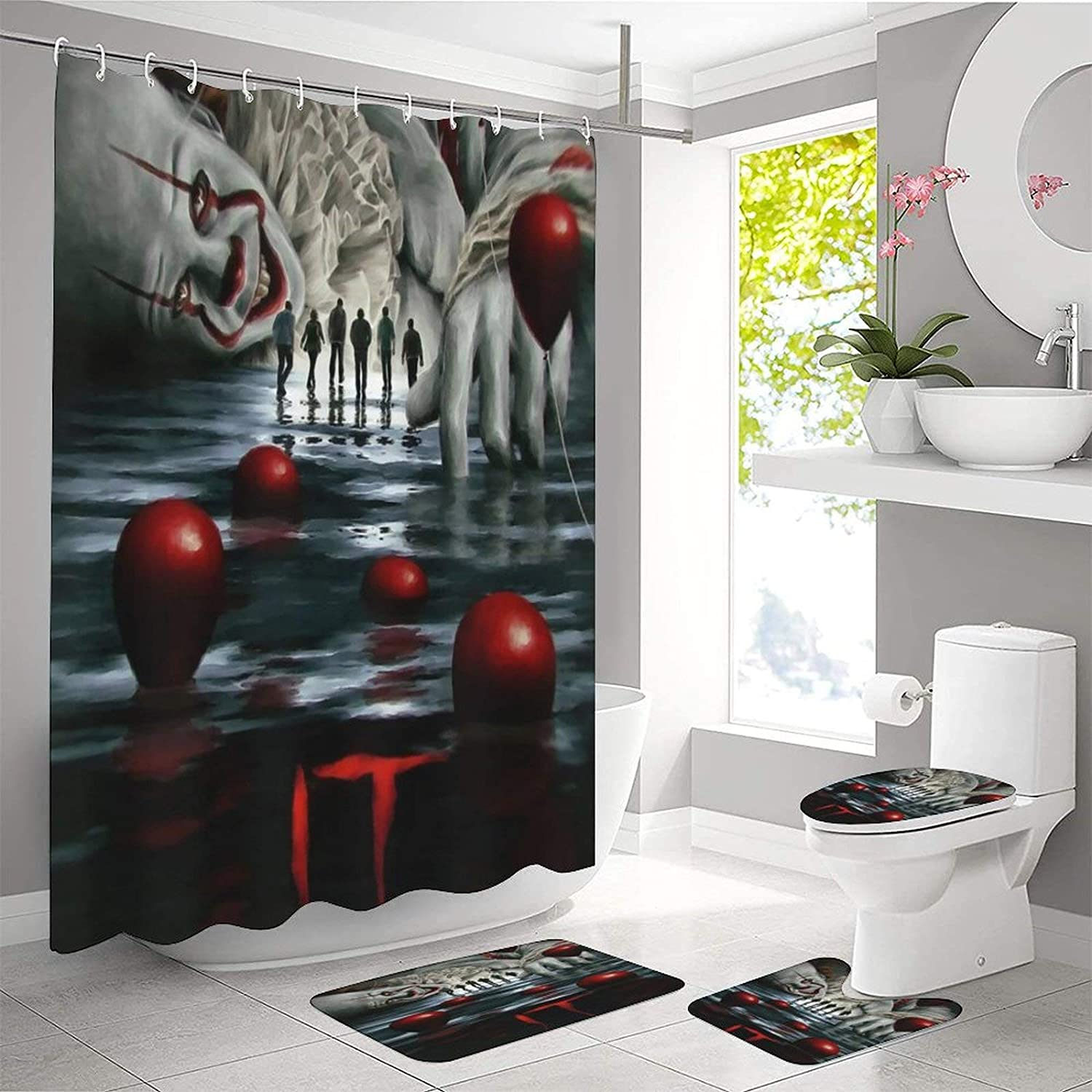 4 Piece New High quality product type Penn-ywise Shower Curtain with Sets Non-Slip Toilet Rug