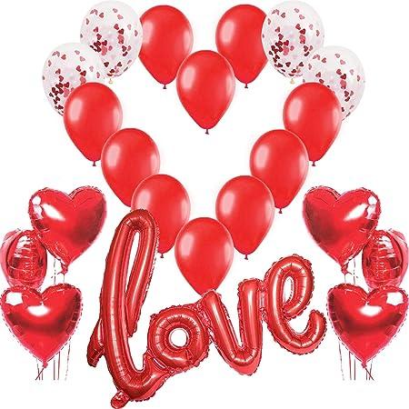 Kit Romantico, Love XXL Rosso, 6 Palloncini a Forma di Cuore Rossi, 4 Palloncini Coriandoli e 10 in Lattice, Decorazione Romantica per San Valentino, Anniversario Matrimonio e Fidanzamento