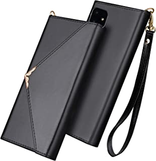 FLYEE iPhone 11 Wallet Case Envelope Design Leather Case Flip Closure Magnetic Protective Cover Kickstand with Cards Slot and Detachable Wrist Strap for Apple iPhone 11 6.1 inch [Black]
