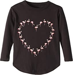 Extra Soft Vintage Jersey Flamingo Heart Tee (Toddler/Little Kids)