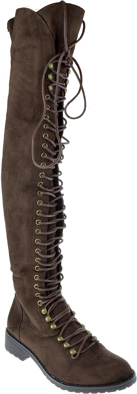 skordeezins skor skor Dezigs Travis 05 05 05 kvinnor Military Lace Up Thigh High Combat Boot  designer online