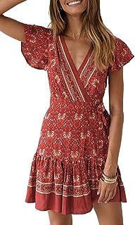 Women's Summer Wrap V Neck Bohemian Floral Print Ruffle...