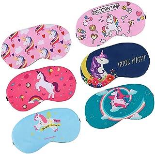 Cozy Sleep Mask (6-Pack), Lightweight Soft Sleeping Mask for Teens Women, Adjustable Eye Cover for Unicorn Sleepover Party...