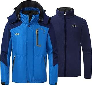 Wantdo Men's 3 in 1 Ski Jacket Warm Winter Snowboarding Coat Waterproof Parka