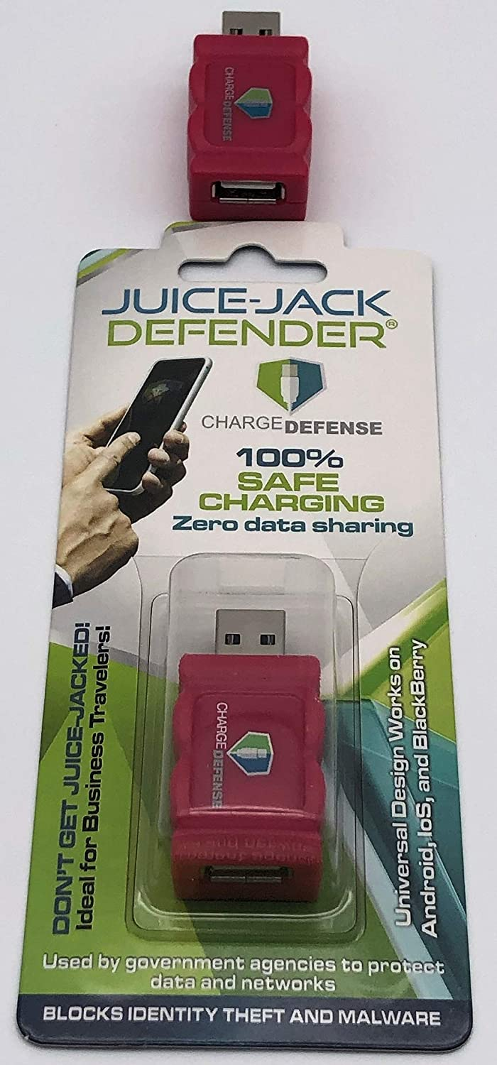 1 Magenta 4th Gen USB Data Blocker, Juice-Jack Defender Protect Against Juice Jacking, Mobile Security Gadget Purchased by White House to Protect its Employees and Networks (Magenta, 1 Count)
