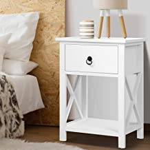 Artiss Wooden Bedside Table Nightstand White, 40(L) x 30(W) x 53.5(H)