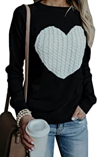Kathemoi Womens Casual Sweaters Crew Neck Heart Black Grey Jumper Pullover Sweater Knit Tops