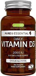 Pure & Essential Vitamine D3 Quotidienne 2000iu Cholécalciférol, 1 par jour, 1 an..
