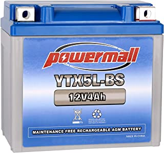 Powermall 12V 4Ah YTX5L-BS Sealed Lead Acid AGM Rechargeable Replacement CT5L-BS CTX5L-BS ES5L-BS GTX5L-BS PTX5L-BS ETX5L BS Battery for Kasea Kymco Honda Kawasaki E-Ton Motorcycle Jet Ski Snowmobile