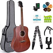Kmise Beginner Acoustic Guitar 6 Metal Strings Mahogany Top Guitar Starter Kit with carring bag tuner strap capo hook hanger hand exerciser picks and replacement strings (41 inch)
