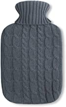 Eco Natural Rubber hot-Water Bottle 2 liters with fine Knitted Cover with Plait Pattern in Darkgrey Model 2020
