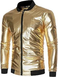 Sportides Men's Metallic Nightclub Shiny Slim Fit Varsity Baseball Bomber Zip Up Jacket JZA147