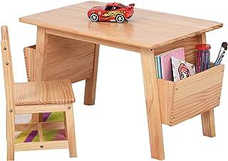 Ensemble table et chaises pour enfants, table d'étude et chaise pour enfants en pin multifonctionnel, table à dessin/table...