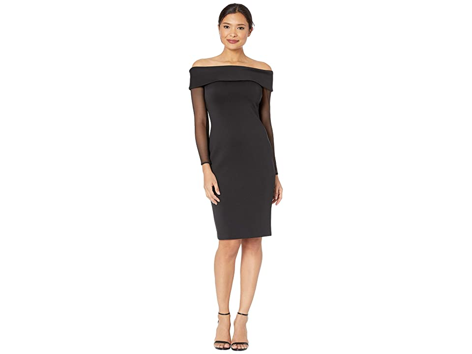 Calvin Klein Off the Shoulder Illusion Sleeve Sheath Dress CD8M19YX (Black) Women