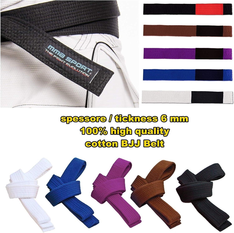 gi 100/% Cotone 6 mm Colori Vari Cintura BJJ Belt Jiu Jitsu Kimono
