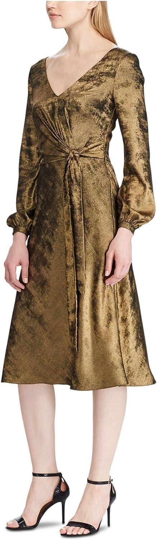 Lauren Ralph Lauren Womens Marlette Sateen Faux Wrap Cocktail Dress Gold 6