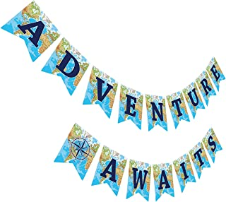 Gyzone Adventure Awaits Banner, Travel Themed Party Decorations for Retirement/Baby | Shower | Bridal | Shower | Job Change Farewell Career Change Party Supplies