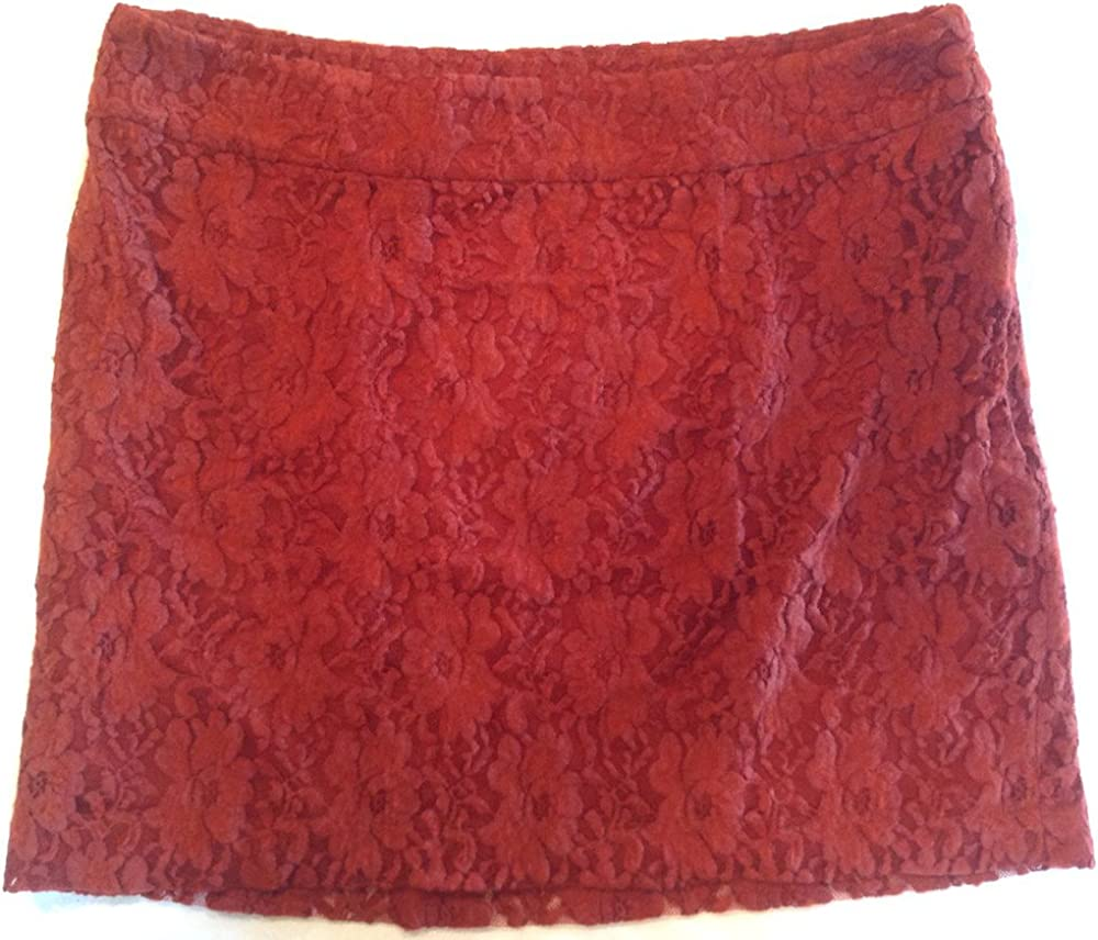 kensie Size 10 Side Zipper Floral Lace Lined Mini Skirt Rust