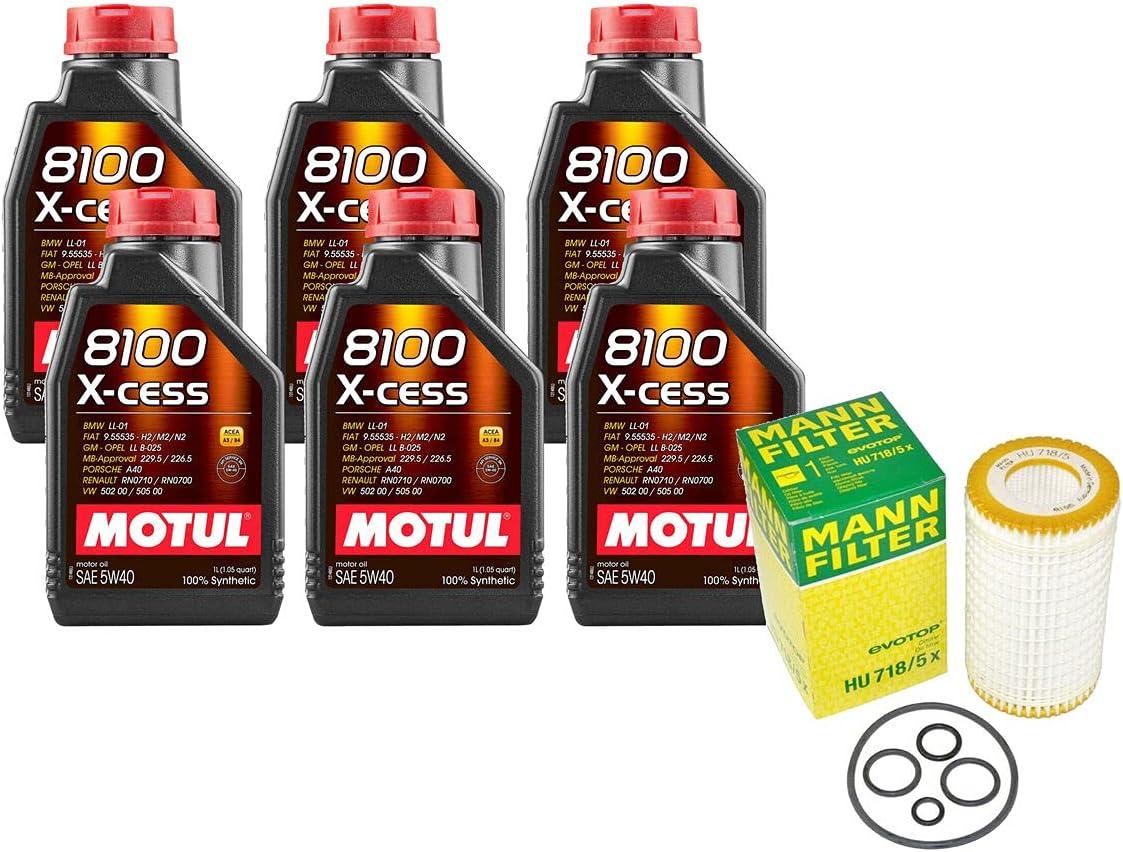 free 6L 8100 X-CESS 5W40 Filter Motor kit Compatible Change [Alternative dealer] with Oil