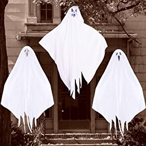3 Pack Halloween Decorations Outdoor, Hanging Ghosts for Halloween Party Decoration, Cute Flying Halloween Ghost Decorations for Front Yard Patio Garden Lawn Décor and Halloween Decorations Indoor