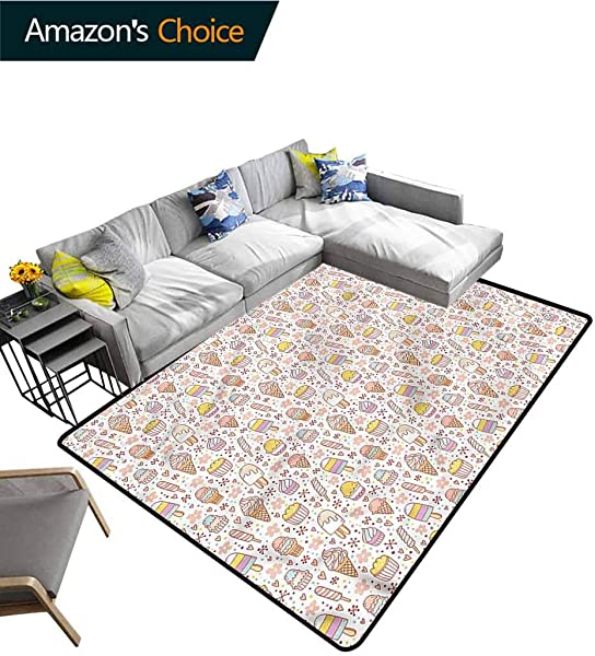 TableCoversHome Ice Cream Floral Door Mat Cute Candies Pattern Printing Carpet Durable Rugs Living Dinning Office Rooms Bedrrom Hallway Carpet 2 5 X 9