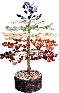 FASHIONZAADI Natural Stone Feng Shui Bonsai Money Tree for Good Luck Chakra Balancing Crystal Gemstone Energy Decor Home Gift Size -10 Inch (Seven Chakra Golden Wire)