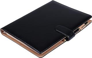【Raccolta Luce】 システム手帳 B5 26穴 19mm リング ルーズリーフ マグネットボタン 使いやすい 黒 茶 (黒 ブラック B5)