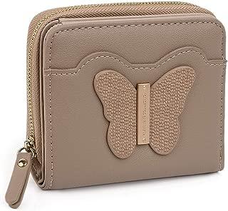 UTO Small Wallet for Women PU Leather Butterfly Card Cash Holder Organizer Zipper Coin Purse