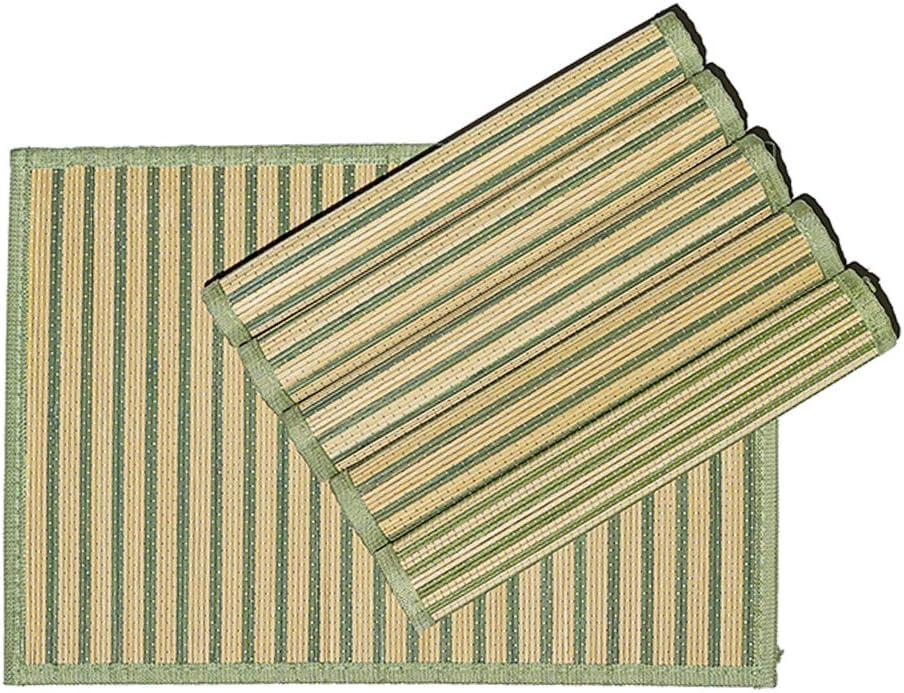 45 x 30 cm Byoeko Juego de 6 Salvamanteles Individuales rectangulares de Bamb/ú con Borde de Tela de Azul