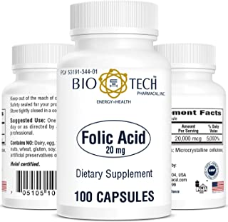 BioTech Pharmacal - Folic Acid (20mg) - 100 Count
