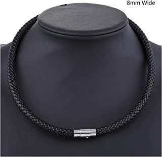 Thin Brown Black Braided Cord Rope Man Made Leather Necklace for Men Choker Silver Tone Stainless Steel Clasp 4/6/8mm,8mm Black,20inch 50cm