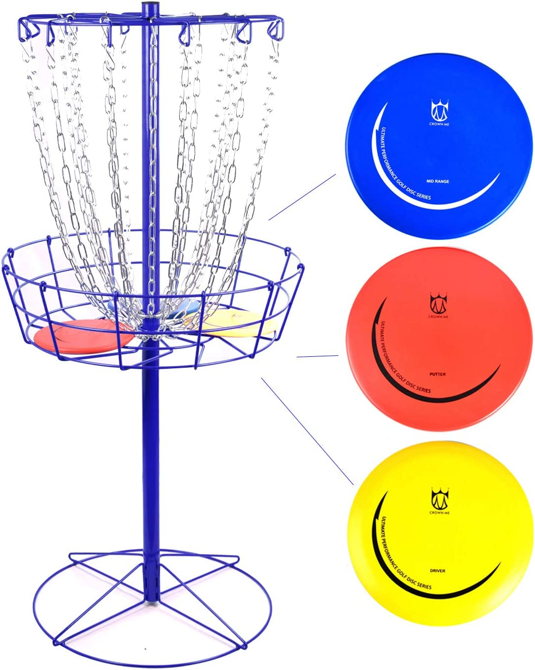 CROWN ME Disc Golf Basket Target Include Porta We OFFer at ! Super beauty product restock quality top! cheap prices 3 Discs 24-Chain