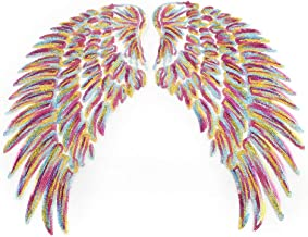 Black Sequin Wings Appliques Iron On Stickers Small Angel Wing Sew On Patches Embroidered Bling Wings for DIY Decoration Kids Dress,Bags(1 Pair) Wing_bright Wing_bright-1000